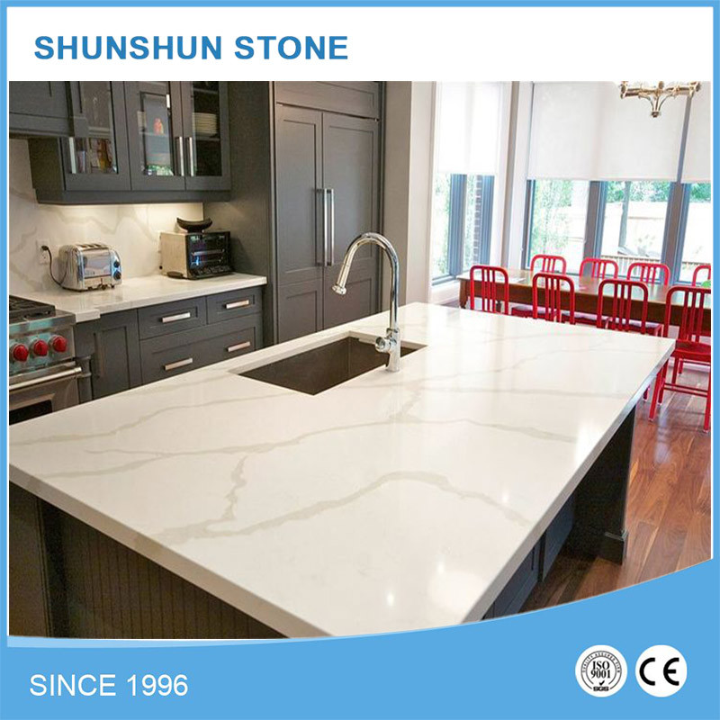 Artificial White Calacatta Stone Quartz for Kitchen