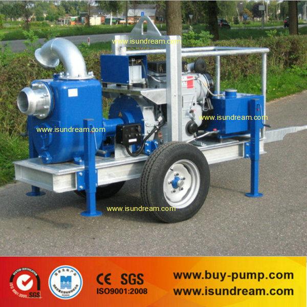 Heavy Duty Trailer Mounted Diesel Engine Sewage Water Pump