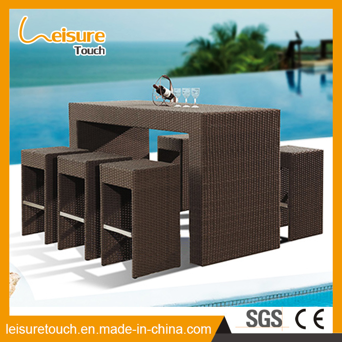 Commercial KTV Combination Casual Tall Stool Rattan Bar Chair and Table Set