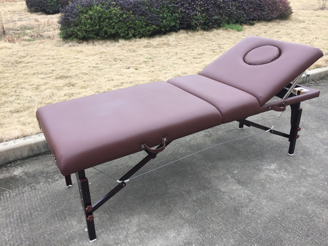 Brown-Red Beech Portable Massage Table with Adjustable Backrest Mt-009-2h