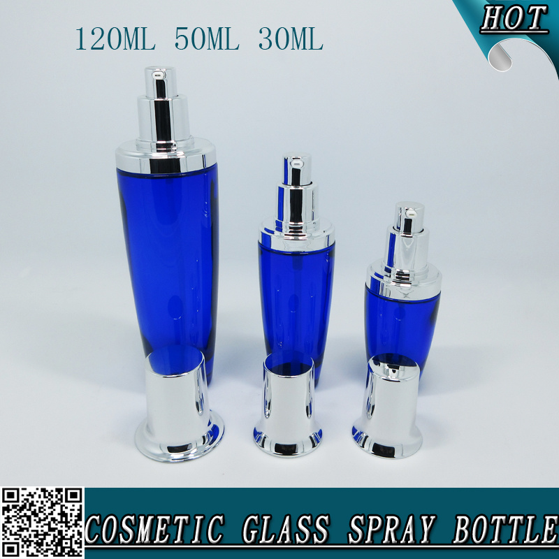 120ml 50ml 30ml Blue Empty Glass Cosmetic Bottle Series with Pump