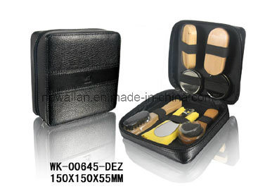 Classic Black Leather Small Zipper Shoe Care Kit for Travelling