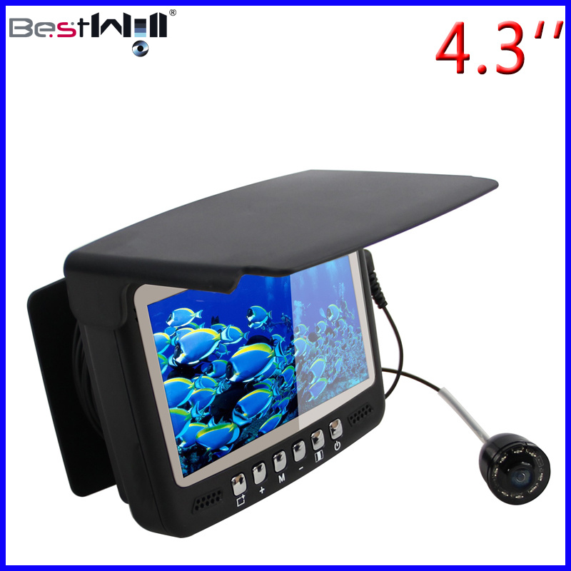 4.3′′ Digital LCD Screen HD 1000 TVL Underwater Fishing Camera Ice Fishing Camera CR110-7HBS with Sun-Visor with 15-30m Strong Cable
