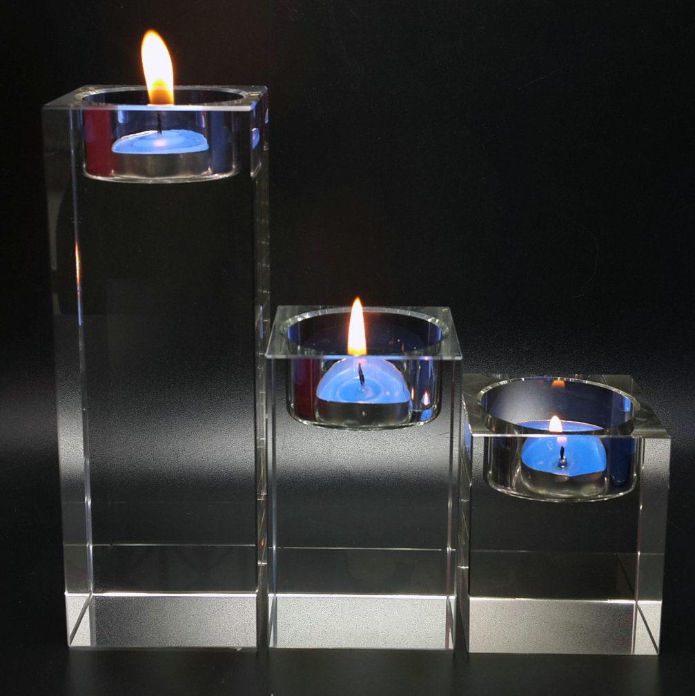 Glass Tea Light Crystal Candle Holder for Home Goods