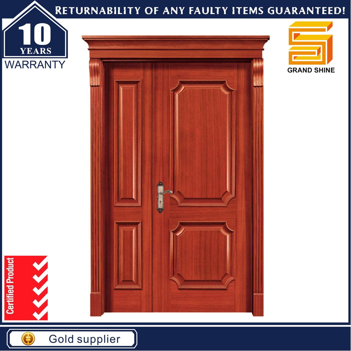 Exterior Fireproof Teak Wood Veneer Composite Wooden Main Door Designs