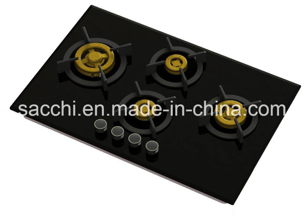Supreme 4 Brass Burner Gas Hob (8mm Glass)