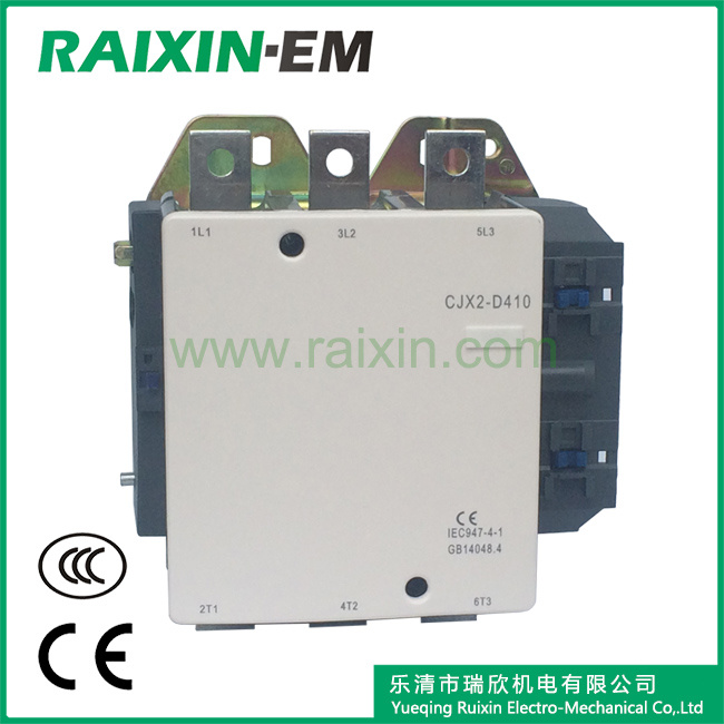 Raixin New Type Cjx2-D410 AC Contactor 3p AC-3 380V 220kw