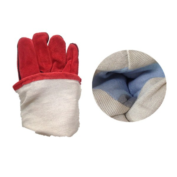 Cow Split Leather Wing Thumb Welding Working Glove (6504. RD)