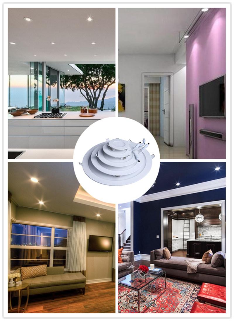 LED Light Round Ceiling Indoor Lighting 6W Slim Panel Lamp (Aluminum+Glass+Iron+Plastic)