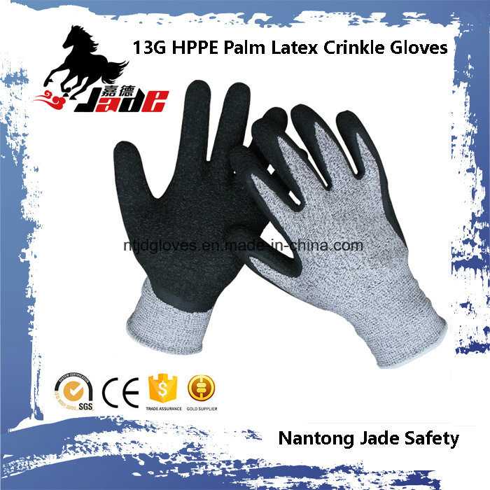 13G 3/4 Latex Crinkle Coated Cut Resistant Safety Work Glove