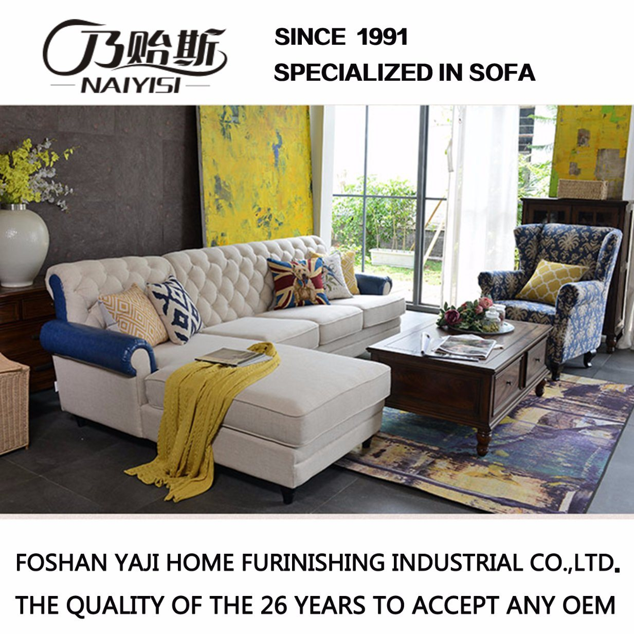 American Country Style Fabric Sofa for Living Room Furniture M3007