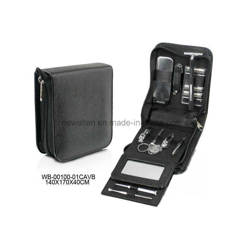 Personal Care Pedicure Kit Black Leather Men′s Manicure Set