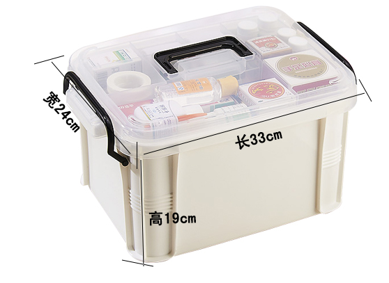 Hotsale Top Quality Medium Size First Aid Plastic Medicine Box Multi-Function Strong Impact Drug Storage Box for Household