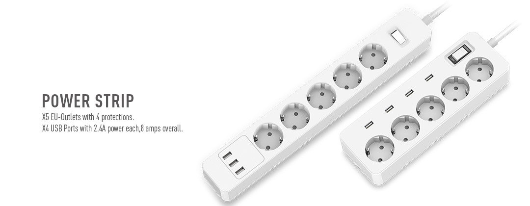 European USB Wall Socket 3 AC Outlets Power Socket 3 USB Charging Ports 5V 2.4A Max