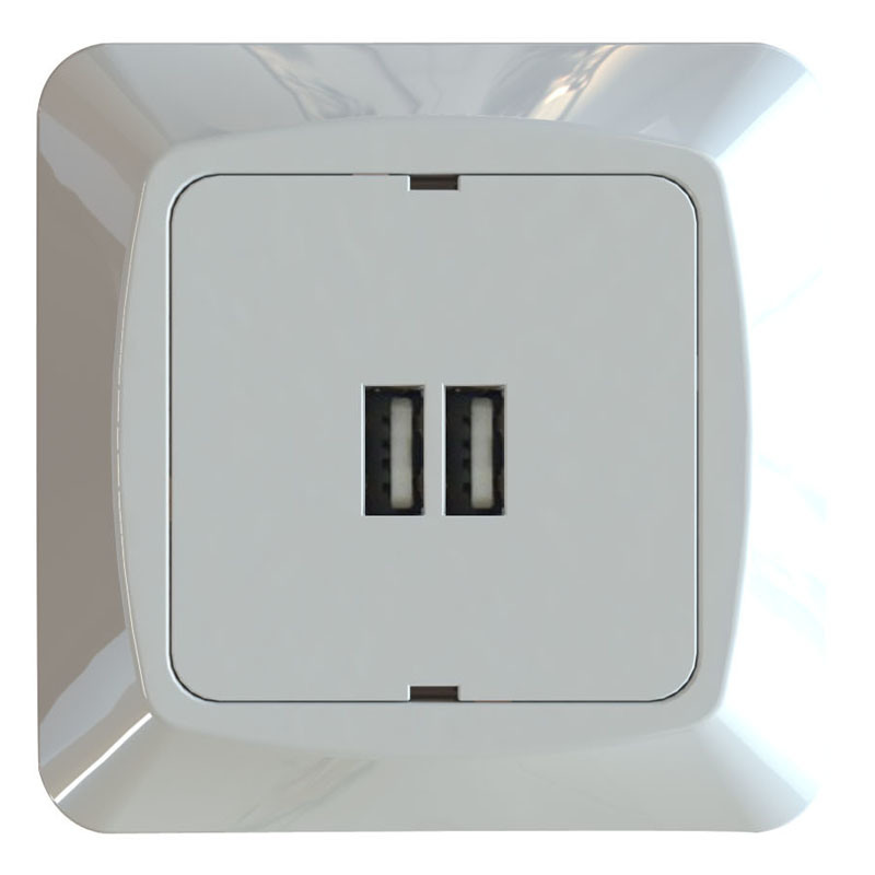 2.4A Schuko USB Wall Socket