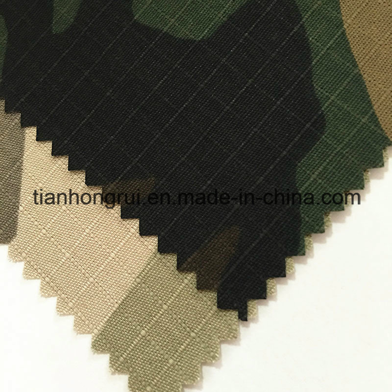 Khaki White Cotton Flame Retardant Canvas Fabric