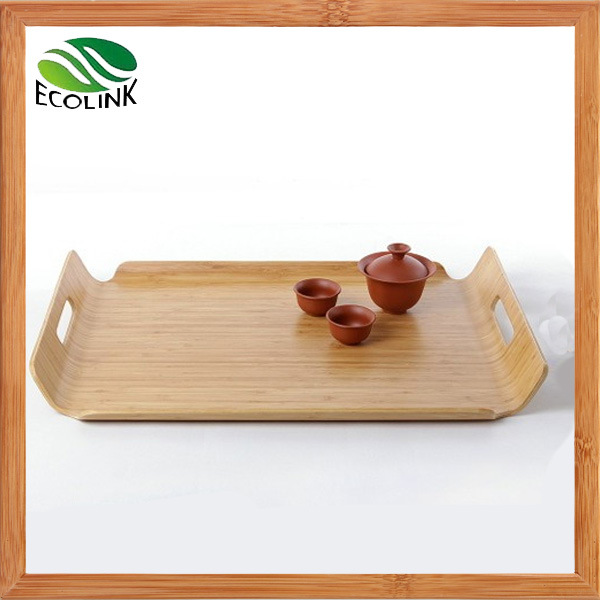 Bamboo Rectangle Tea Serving Tray with Handles