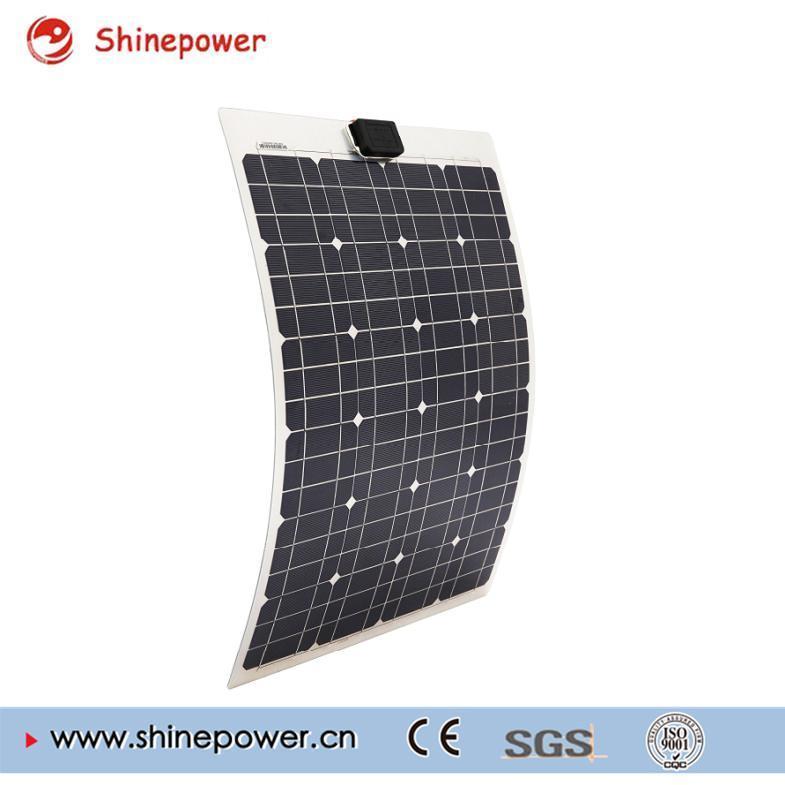 50 Watts 12 Volts Semi Flexible Monocrystalline Solar Panel for Battery Charging