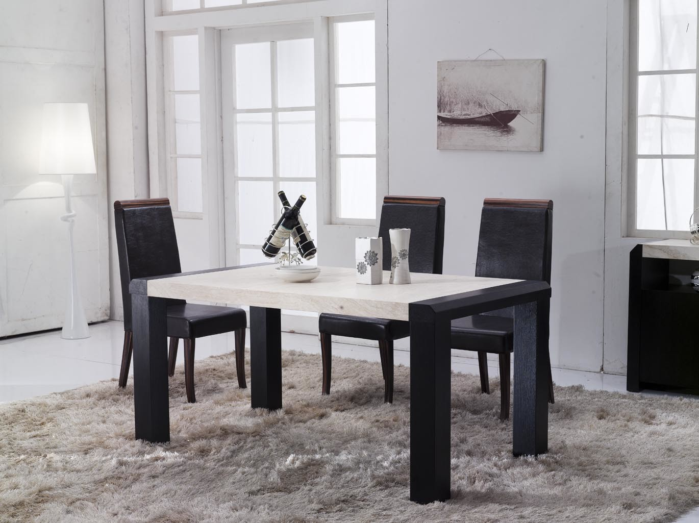 China marble top dining table 142 china modern wooden for Marble top dining table