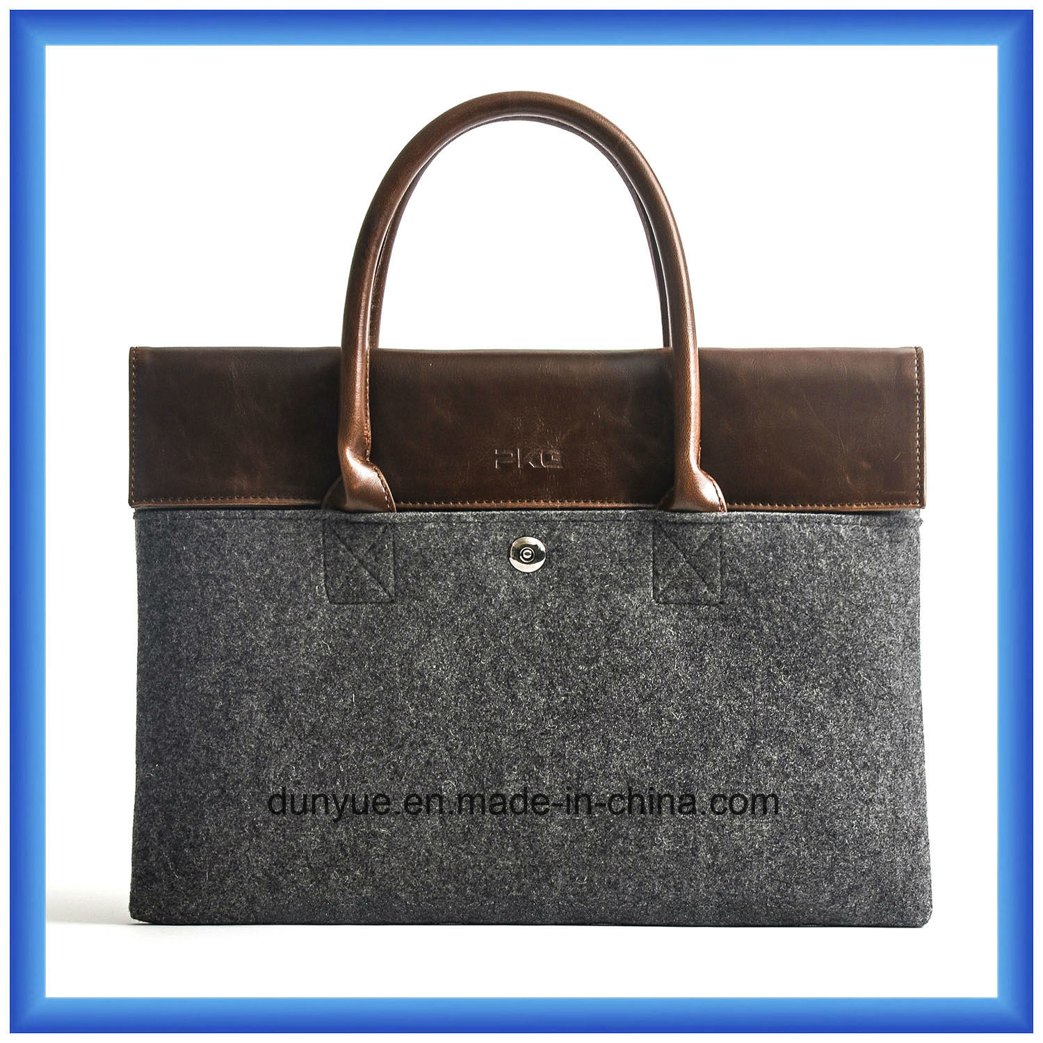 "Hot Promotional 13"" Customized Wool Felt Laptop Briefcase Bag / Laptop Hand Bag with Comfortable PU Leather Handle (wool content is 70%)"