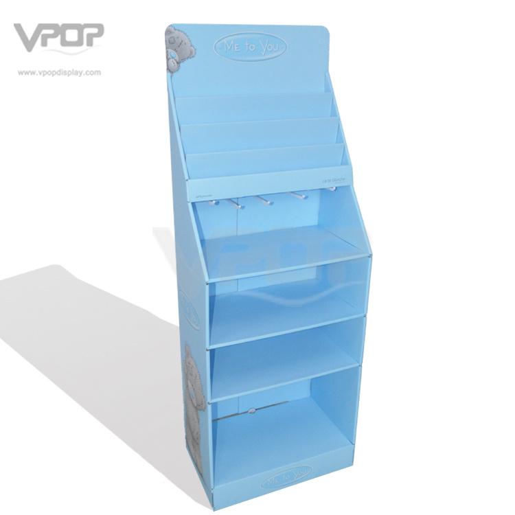 Shelf & Hook Pop Corrugated Cardboard Floor Display for Plush Bear