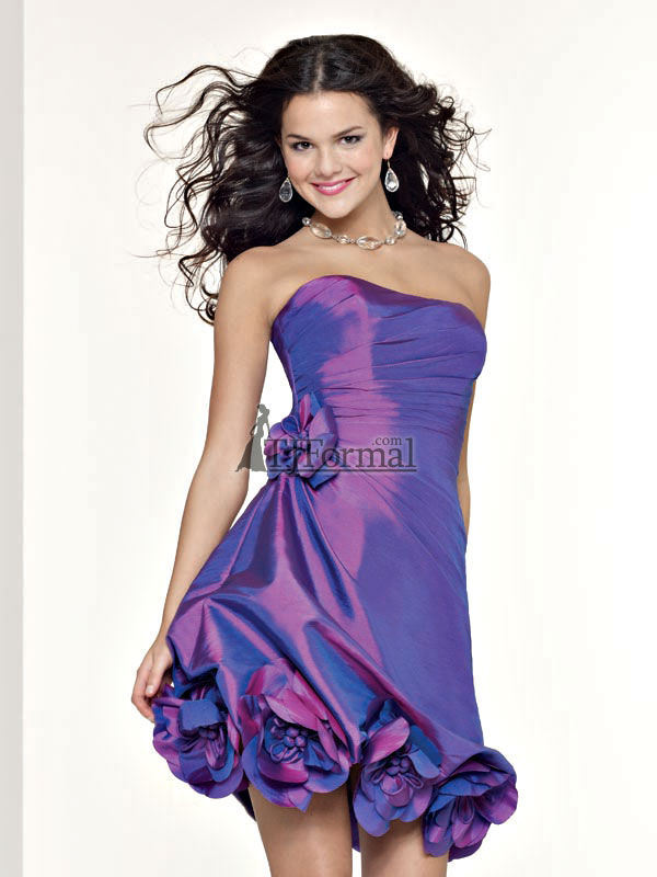 party dress on Elegant Short Party Dress With Shiny Purple Color
