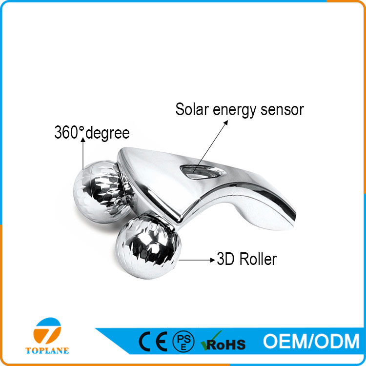 3D Facial Massage Roller Y Shape Platinum Solar Energy Massager