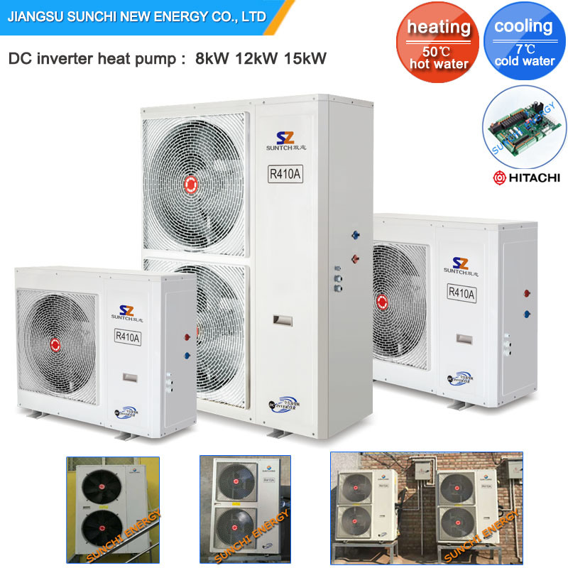 Amb. -25c Winter Floor Heating Room 12kw/19kw 220V R407c Condensor Split Evi Air Source Heat Pump System
