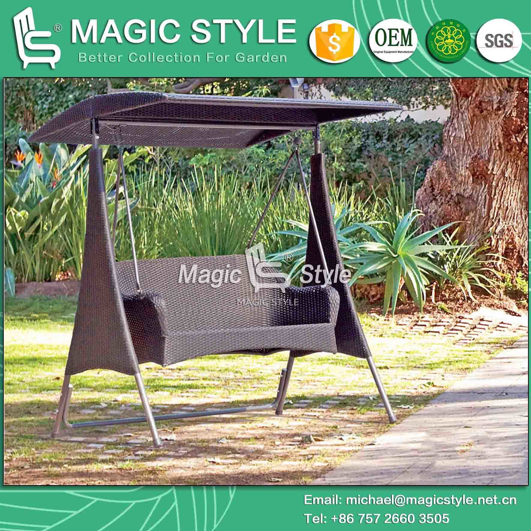 Modern 2-Seater Swing with Synthetic Wicker Garden Rattan Double Hammock (Magic Style)