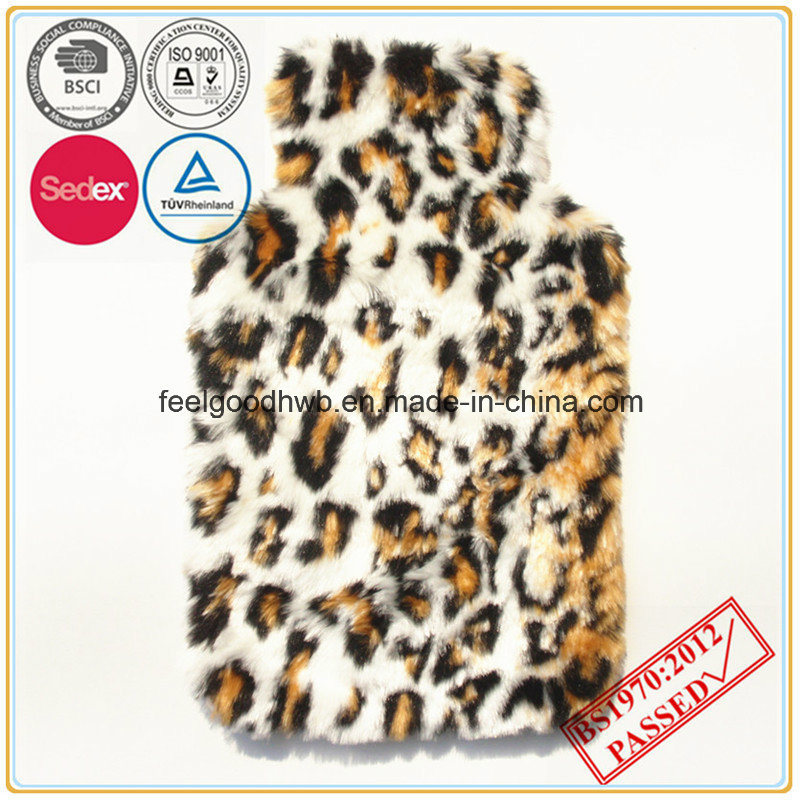 Hot Water Bottle with Leopard Faux Fur Cover
