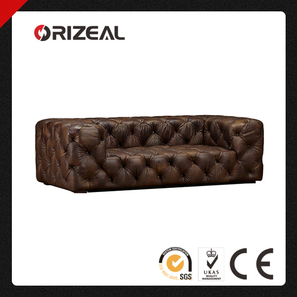 Orizeal Classic French Style Soho Tufted Genuine Leather Sofa (OZ-LS-2035)