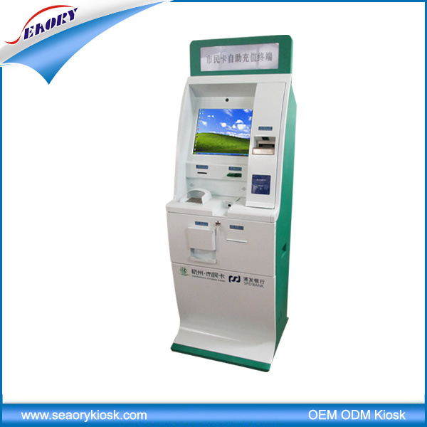 Lobby Standing Multifunction Self Service Terminal with Cash Acceptor Kiosk