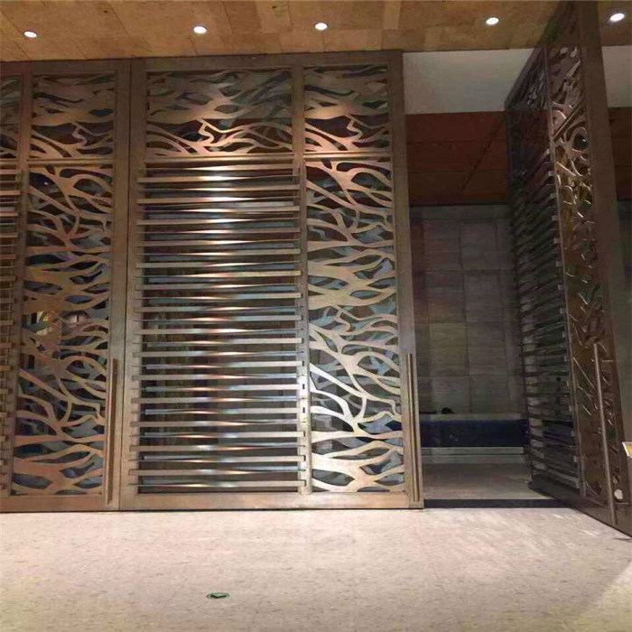 Interior Design Stainless Steel Partition Wall Laser Cut Screen With Brushed Color For Luxury Architectural Projects