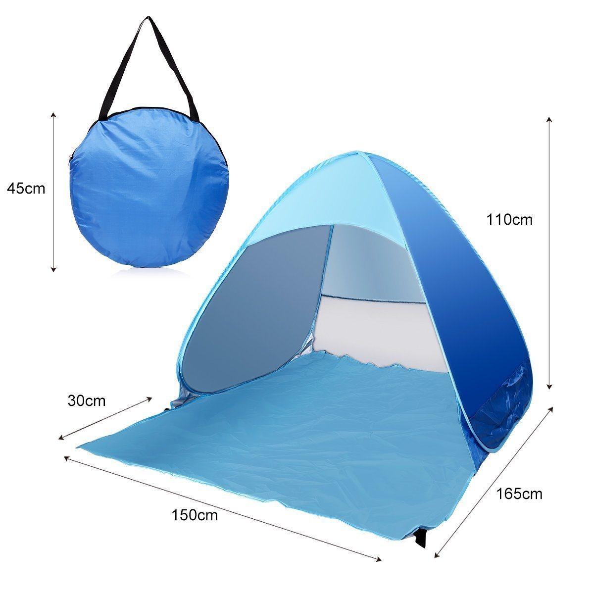 3-Person Automatic Pop up Cabana Beach Tent, Light Blue