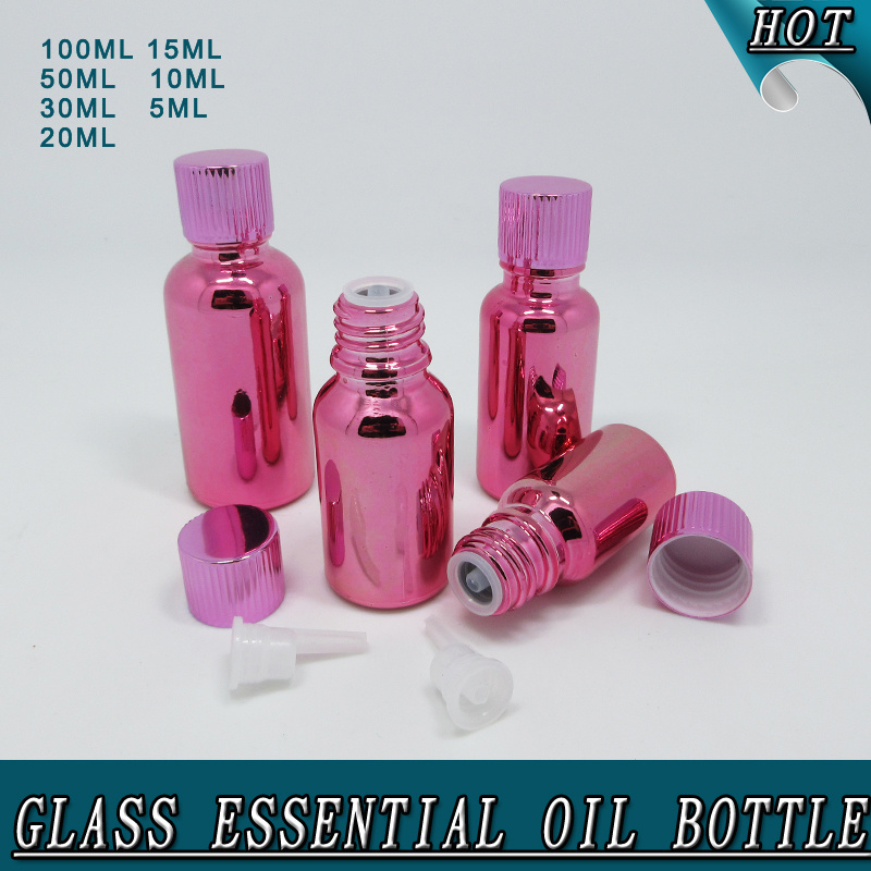 Wholesale New Design Customized Electroplated Rose Red Glass Essential Oil Bottle