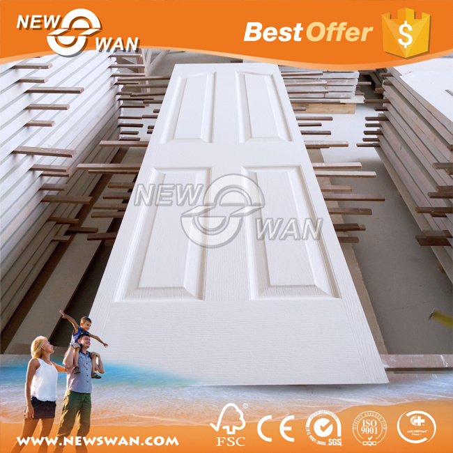 White Primer HDF Door, Wood Veneer Teak Ash Molded Door Skin