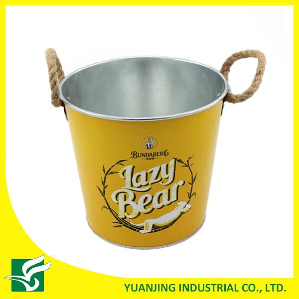 Home Decoration Metal Zinc Bucket with Hemp Rope Handle