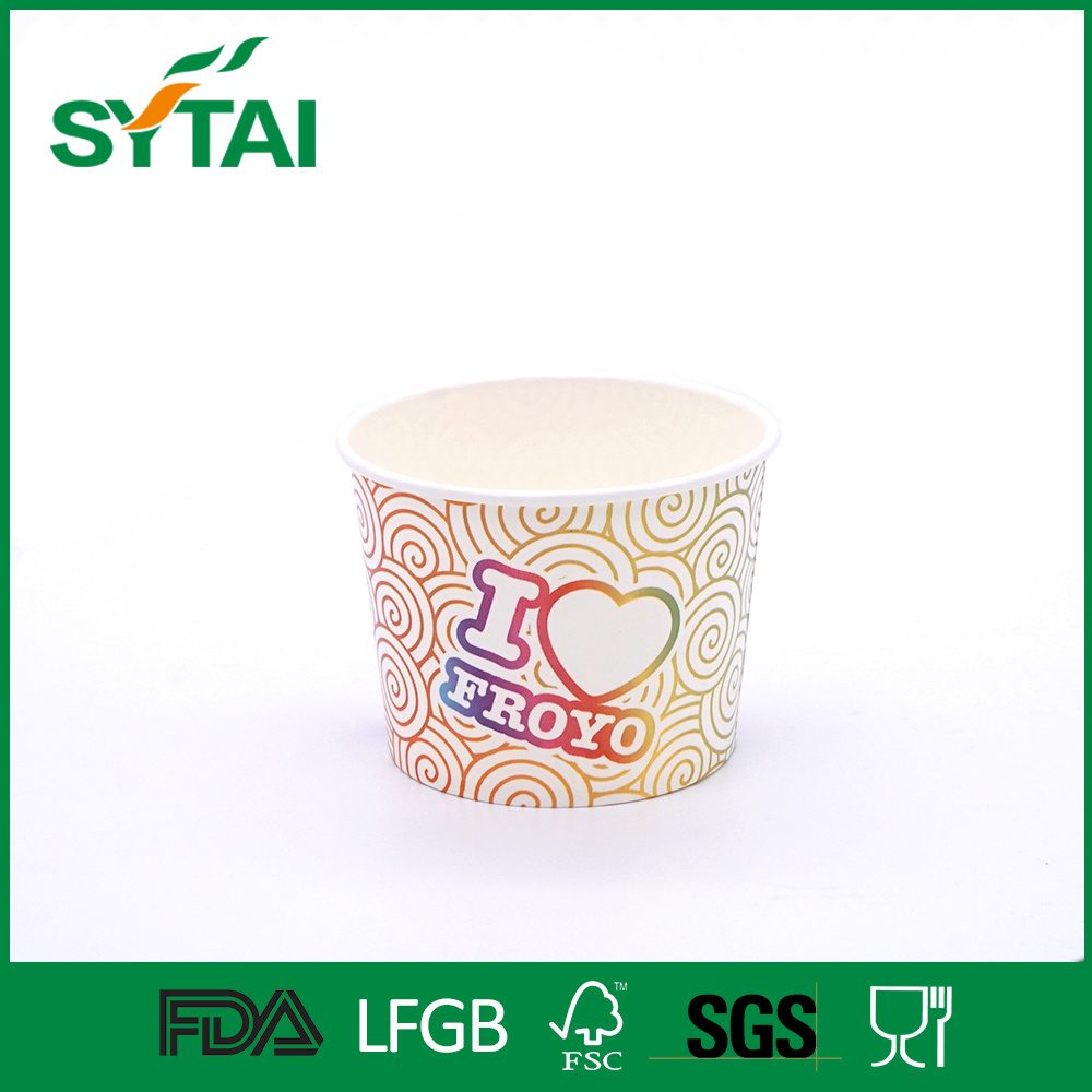 Disposable PLA Laminated Paper Ice Cream Cups with Lids