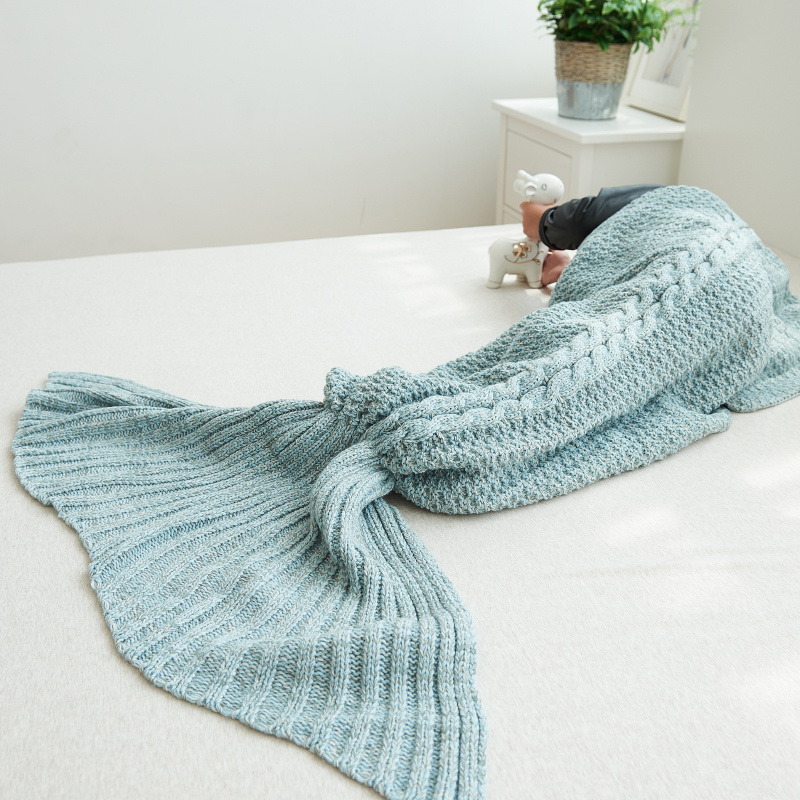 Children Mermaid Crochet Knitting Blanket