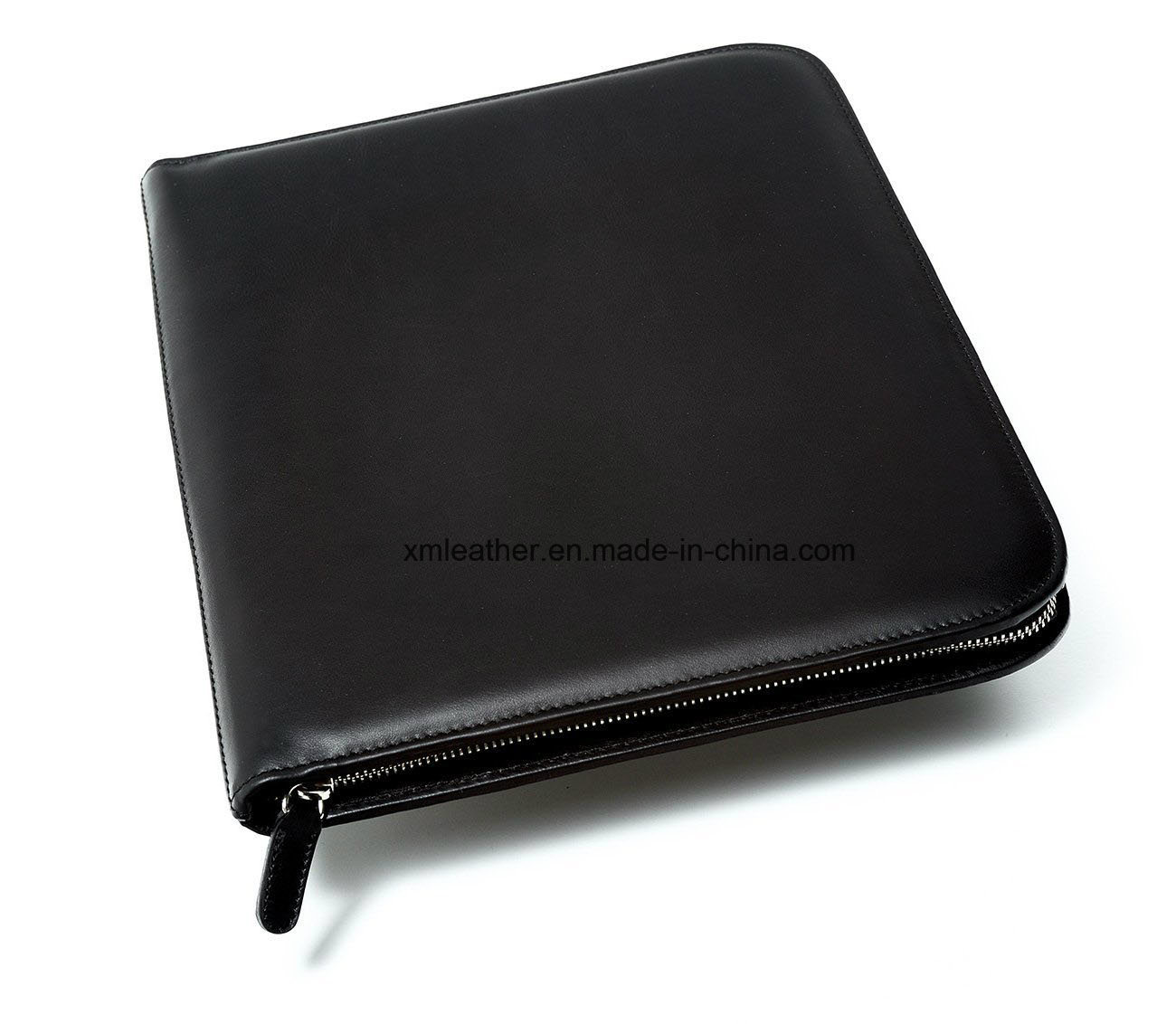 Italian Leather Padfolio Document Holder with Zipper Closed