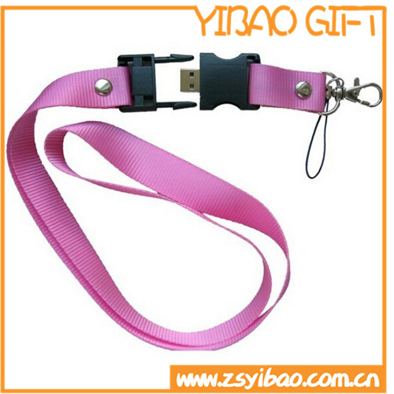 Custom Polyester Ribbon Lanyard with Plastic Attachment (YB-LY-15)