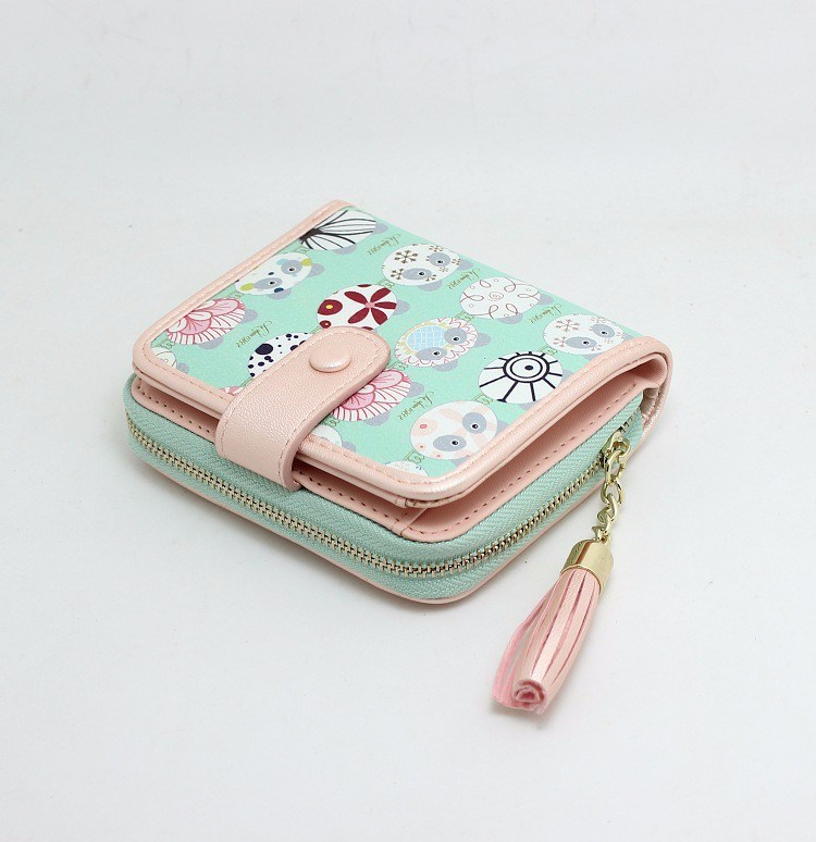 Fashion Delicate Lady Mini Leather Wallet with Printed Artwork