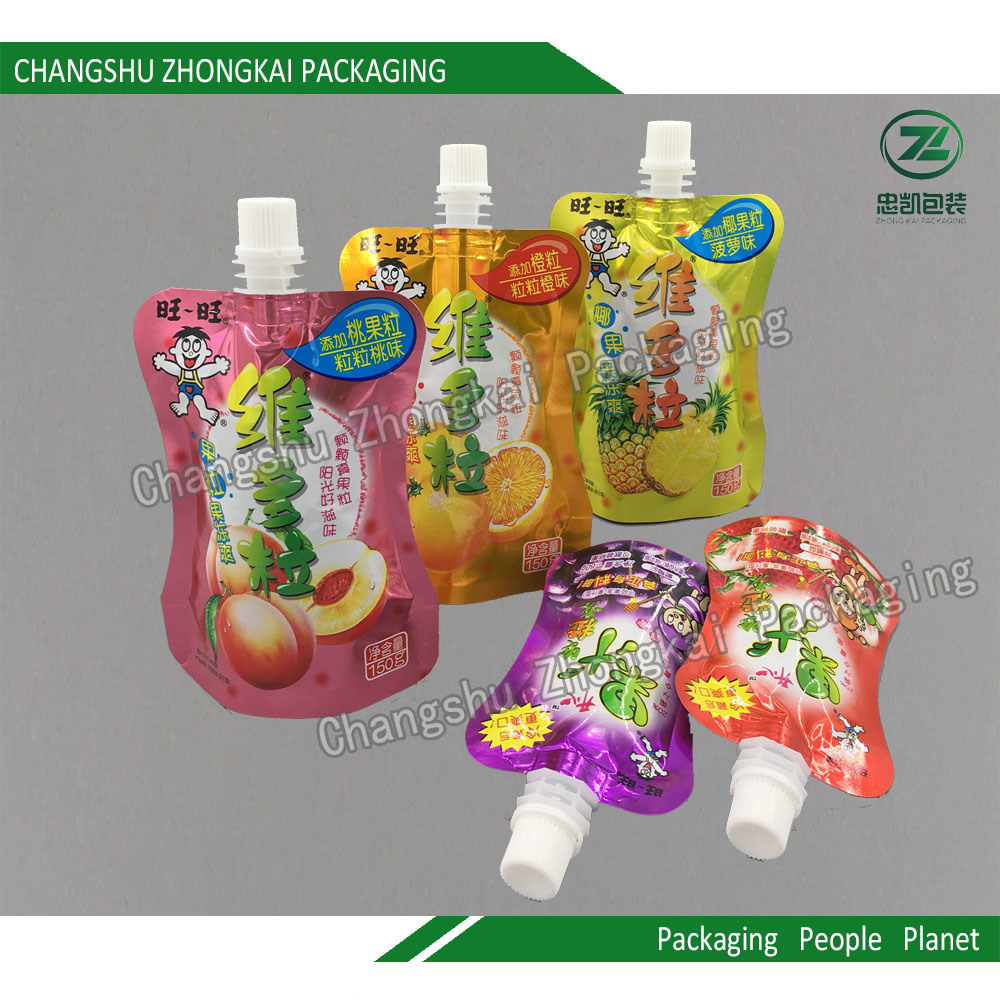 Stand up Spout Pouch Plastic Packaging for Children Jelly Juice
