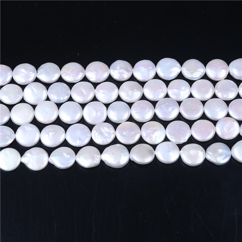 "15mm Natural Freshwater Pearl Coin Shape Loose Beads Strand 15"" Jewelry Making"