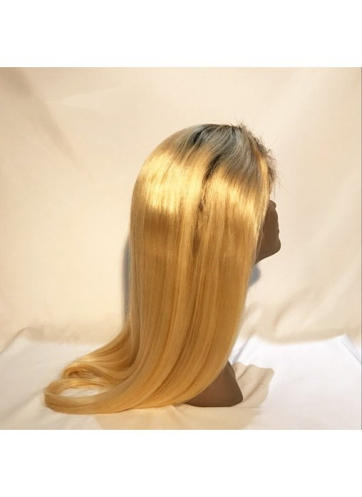 Natural Hairline Dark Root Lace Wig with Baby Hair Brazilian Hair Dark Root Blonde Hair Full Lace Wigs Blonde Wig Dark Root