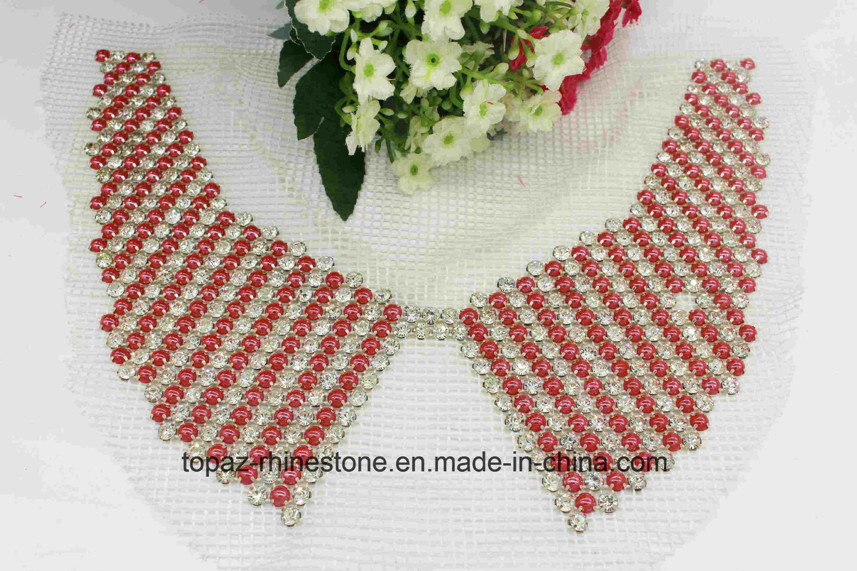 Rhinestone Mesh Pearl Beaded Appliques Neck Trim Collar Patch (TA-010)