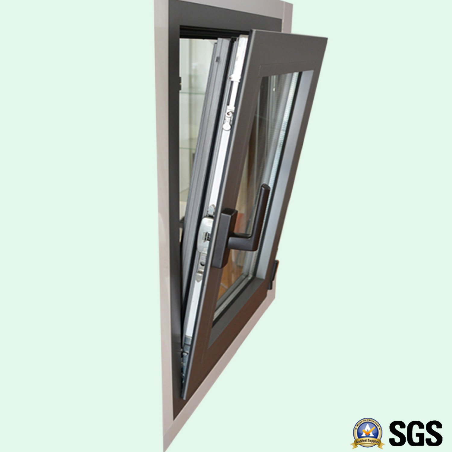High Quality Thermal Break Aluminum Profile Casement Window with Multi Lock K04002