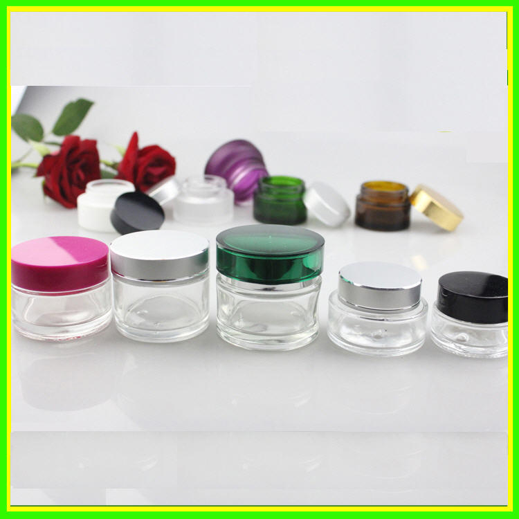 New 50ml 60ml Glass Clear Cosmetic Jars Cosmetic Packaging Cream Glass Bottl Jar