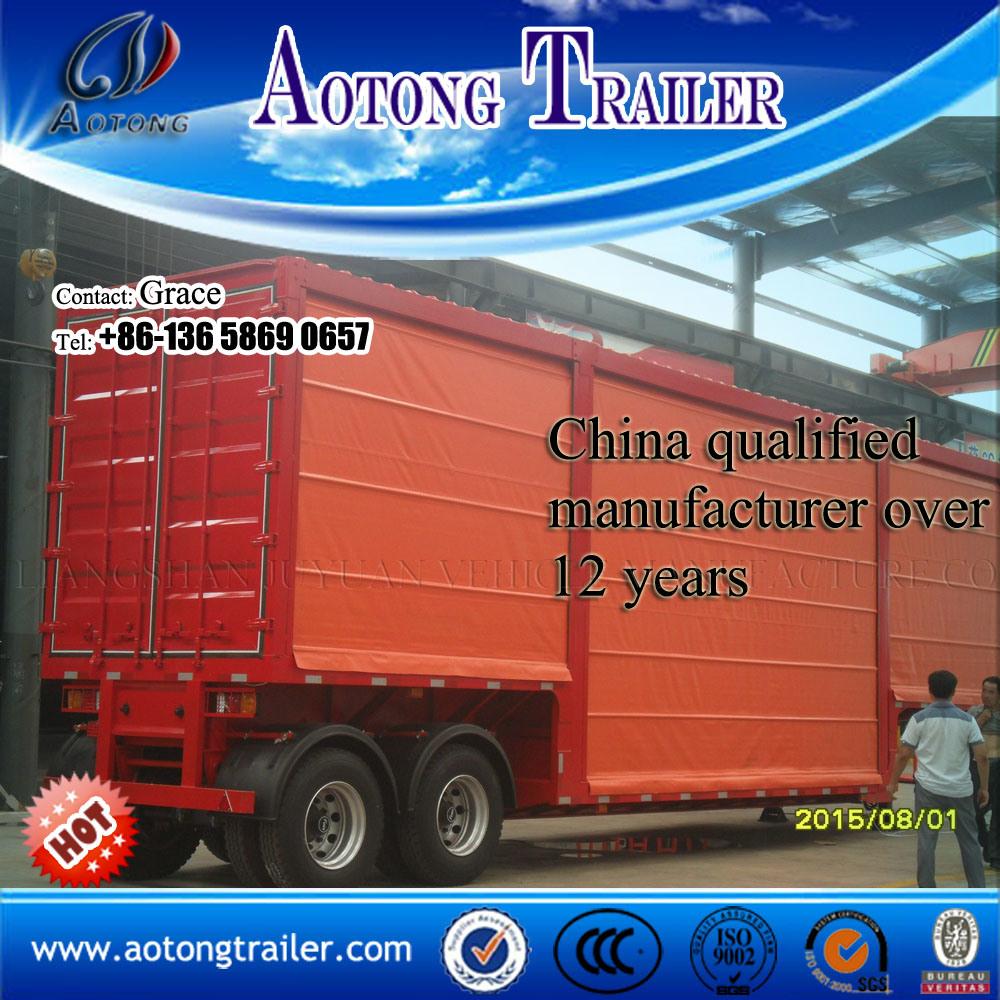 China Curtain Side Semi Trailer Semitrailer Wall Van