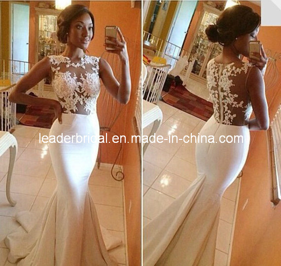 Fashion Mermaid Bridal Dresses Sheer Lace Wedding Dress Gown H1618